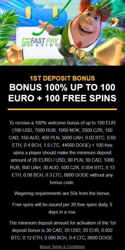 Deposit bonus fastpay casino